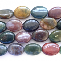 India Agate 10x14 mm Flat Oval Beads